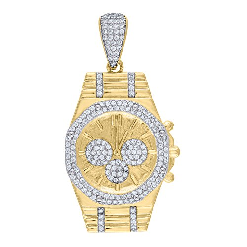 (Jewels By Lux Sterling Silver Mens Two-tone CZ Watch Pendant Charm-10.79gm Set With The Highest Quality Cubic Zirconia.)