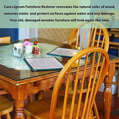 CURA LIGNUM Wood Furniture Polish 500 ml | Long Lasting Shiny Finish with Boiled Linseed Oil | Wood Restorer, Conditioner and Protector