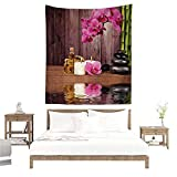 The Art Tapestry,Spa Decor,Spa Flower Water Reflection Aromatherapy Bamboo Blossom Candlelight W63 x L63 inch Digital Printing Tapestry