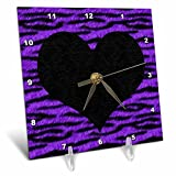 3dRose Janna Salak Designs Punk Rockabilly Purple Tiger Animal Print Black Heart Desk Clock