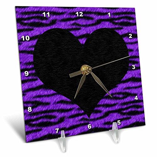 3dRose Janna Salak Designs Punk Rockabilly Purple Tiger Animal Print Black Heart Desk Clock by 3dRose