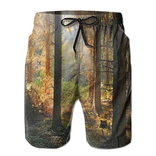 - Men Swim Trunks Beach Shorts,Sunset View of Dark Pine Forest in Autumn Foggy Scene with Sunbeams Trunks Shadow XXL