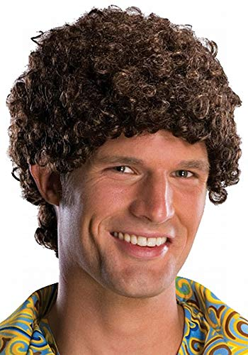 Tight Fro Brown Halloween Wig - Adult Size One Size -