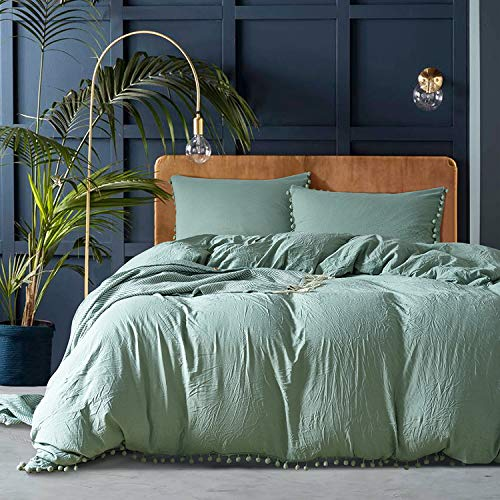 MUKKA 3 Pieces Washed Cotton Technical Wrinkle Looking Pompoms Design Balls Fringe Solid Color Duvet Cover Bedding Set Silky Soft Breathable Bed Linen (Sea Green-Pompoms, Queen)