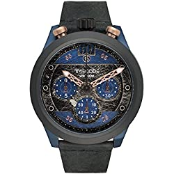 Timecode Moon 1969 TC-1015-03 46mm Men's Watch Vintage BLUE dial BLACK strap Date Chronograph
