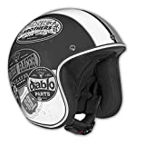 Vega X-380 Open Face Helmet with Old Skool Graphic (Flat Black/Monochrome, Small)