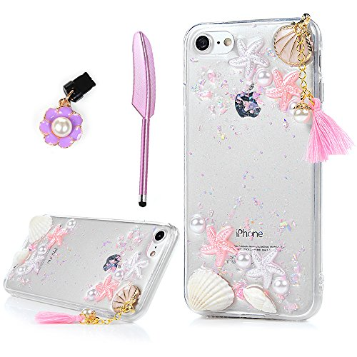 YOKIRIN iPhone 7 Case, iPhone 8 Case, Beach Starfish Shower Seashell Design Transparent Clear Soft Flexible Gel Silicone TPU Bumper Slim Fit Shockproof Protective Cover Shell with Dust Plug - - Design Shell Sea