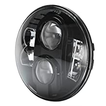 "Black Harley 7"" Led Headlight 80W Cree 7 Inch Round Projector Daymaker Hi/Lo Beam Headlamp Driving Light DRL 6000K Motorcycle Led Headlights for Harley Davidson"