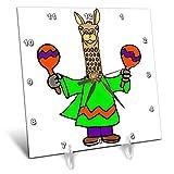 3dRose All Smiles Art - Music - Cute Funny Llama Shaking Maracas Cartoon - 6x6 Desk Clock (dc_293159_1)