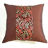 EXP Chocolate Brown Cushion Cover/Pillow Sham with Silky Filigree Dragon Detail