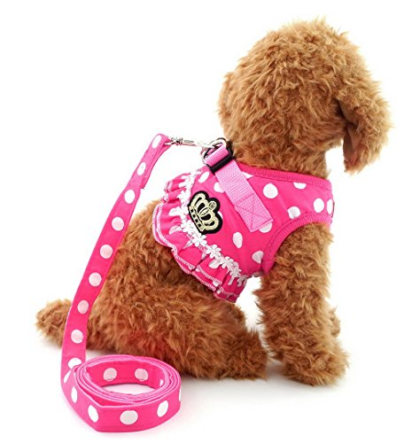 SELMAI Small Dog Harness Pink Leash Set Ladies Polka Dot Vest Mesh Padded Lead for Pet Cat Puppy Girls M