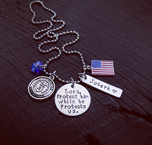 Lord, Protect Him/Her While He/She Protects Us Necklace | Military Mom | Military Wife | Military Girlfriend | Deployment Gift | Boot Camp