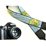 World map camera strap. Black DSLR/SLR Camera Strap. Durable, light weight and well padded camera strap. code 00018