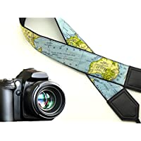 World map camera strap. Black DSLR / SLR Camera Strap. Durable, light weight and well padded camera strap. code 00018