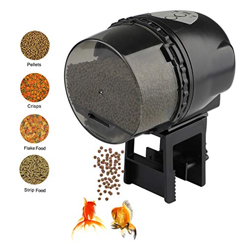 Atman Dynasty Automatic Fish Feeder for Aquarium Tank, Moisture-Proof Electric Auto Fish/Turtle Feeder for Flakes, Aquarium Tank Timer Feeder Vacation &Weekend 2 Fish Food Dispenser ()