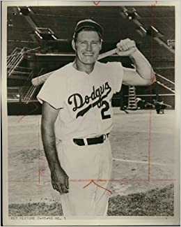 Rifleman Chuck Connors 8 X 10 In A Los Angeles Dodgers Uniform