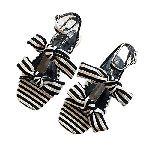 JUWOJIA of Tie A Summer For Simple Striped Pair Word Sandals negro Sweet Bow Sandals Casual TpHxPrTq