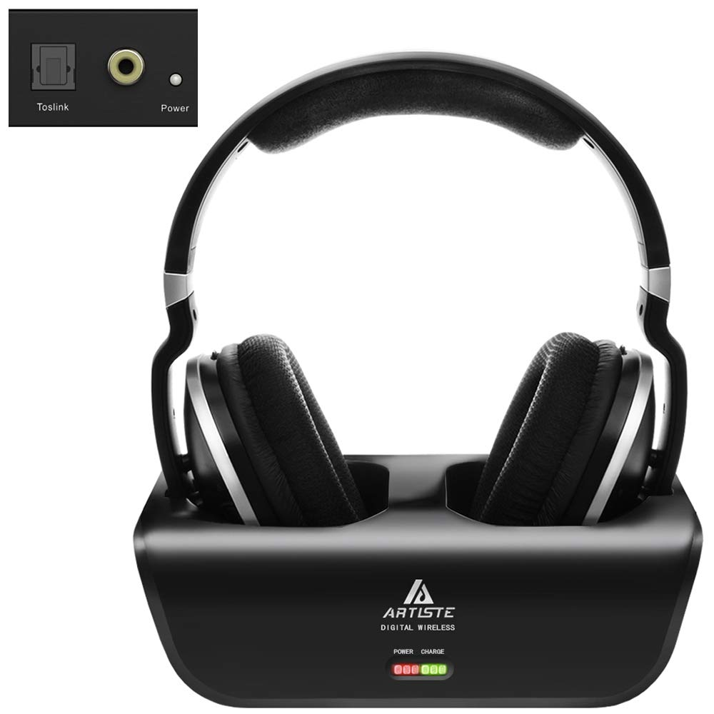Wireless Headphones for TV Watching with Optical, ARTISTE ADH300 2.4GHz Digital Wireless TV Headphones, 100ft Distance Rechargeable for TV PC Phone Black with Optical