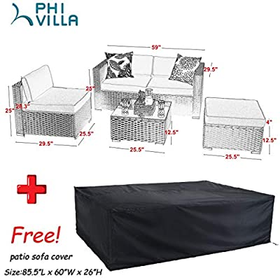 PHI VILLA Patio Furniture Set Rattan Sectional Sofa with Seat Cushions