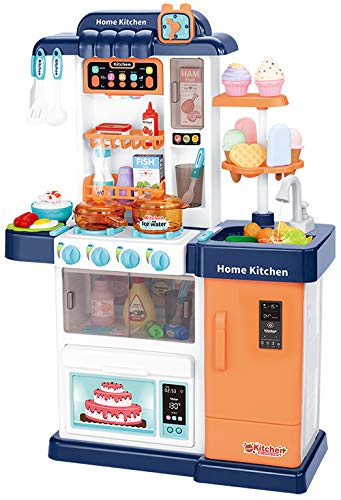 ARHA IINTERNATIONAL Kids Kitchen Toys Set for Girls with Realistic Lights & Sounds,Simulation of Spray, Play Sink with Running Water
