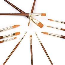 Fabart 12 Piece Artist Paint Brush Set - Round, Flat, Dagger, and Script Liner