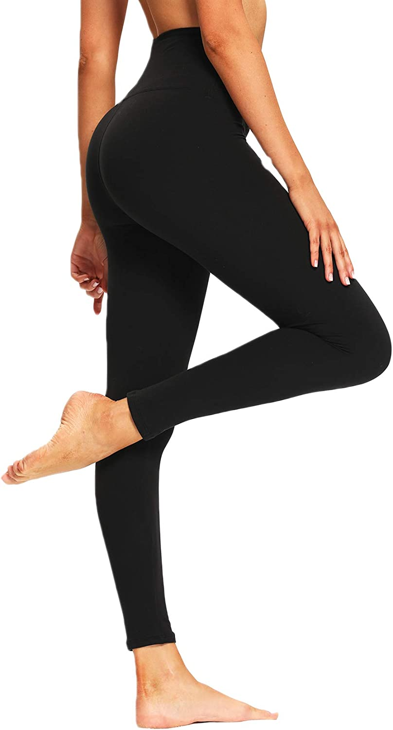 Leggings for Women Butt Lift - High Waisted Pattern Yoga Pants Soft Tummy Control Printed Tights for Workout Running Cycling Black