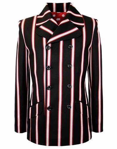 1960s Style Men's Clothing, 70s Men's Fashion Howl MADCAP Double Breasted Retro Stripe Blazer £99.99 AT vintagedancer.com