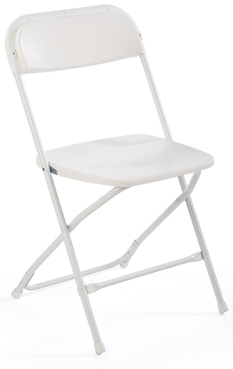 Displays2go Stacking Folding Chair, Portable, 32.5 Tall, White Steel Plastic