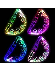 ONETOPU 4 Pieces Tambourine Toys for Children Light Up Tambourine Musical Flashing Tambourine LED Glow Tambourine Handheld Tambourine for Children Adults Party Toys
