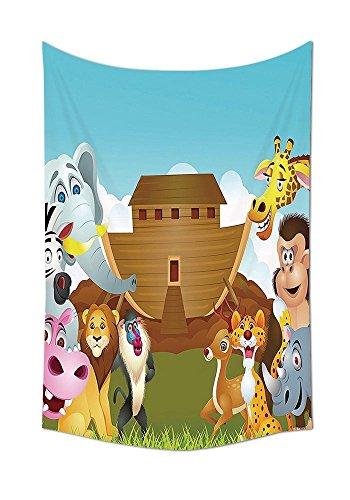 asddcdfdd Noahs Ark Decor Tapestry Noahs Ark Illustration Before The Journey All Animals Myth Faith Grace Old Story Artprint Bedroom Living Room Dorm Decor Multi by asddcdfdd