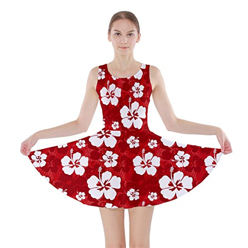CowCow Red Pattern with Hibiscus Flowers on Red Skater Dress, Red-2XL (Adult Lilo Costume)
