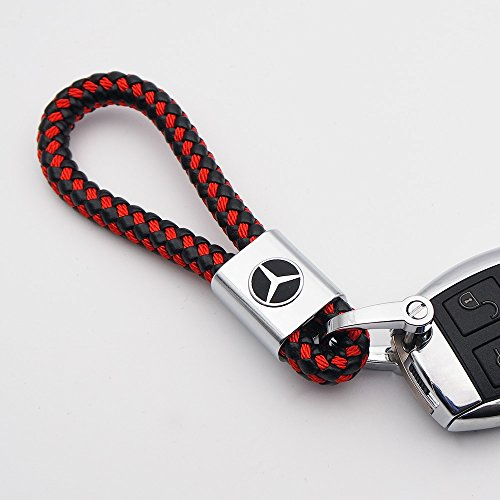 For Mercedes-Benz Logo Emblem Key Chain Key Ring Metal Alloy BV Style Leather Gift Decoration Accessories AMG (Black & Red)