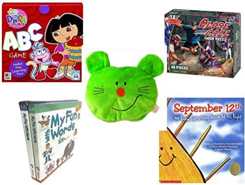 Children's Gift Bundle - Ages 3-5 [5 Piece] - Dora the Explorer: ABC Game - Melissa & Doug Close Call Floor 48 Piece Puzzle Toy - Plush Appeal Bright Green Kitty Cat Face Plush 5
