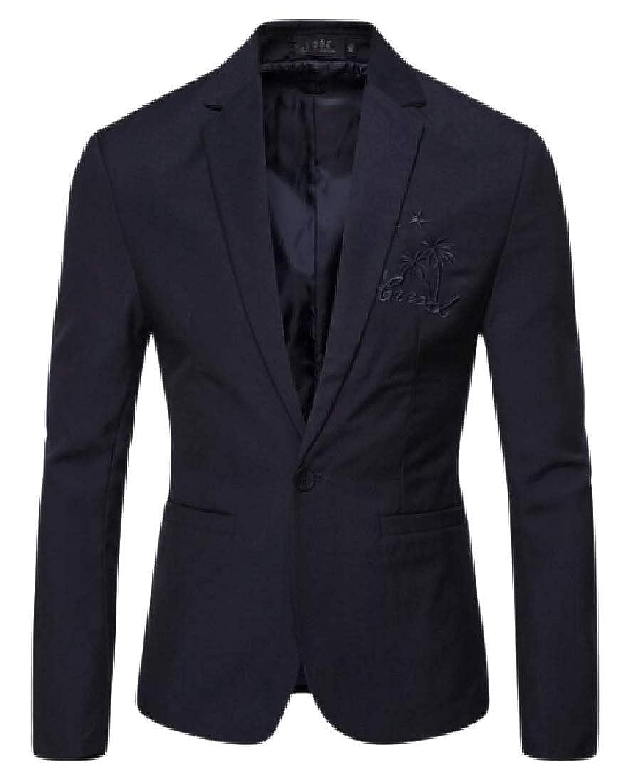Navy bluee pipigo Mens Lapel Casual Formal One Button Embroidery Fashion Blazer Jacket Coat