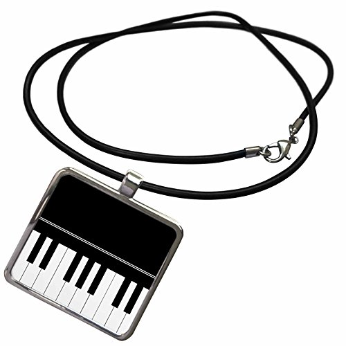 3dRose InspirationzStore Music Art Designs - Piano Keyboard - Black and White Keys Music Design - Pianist Musical Player and Musician Gifts - Necklace with Rectangle Pendant (ncl_112946_1)