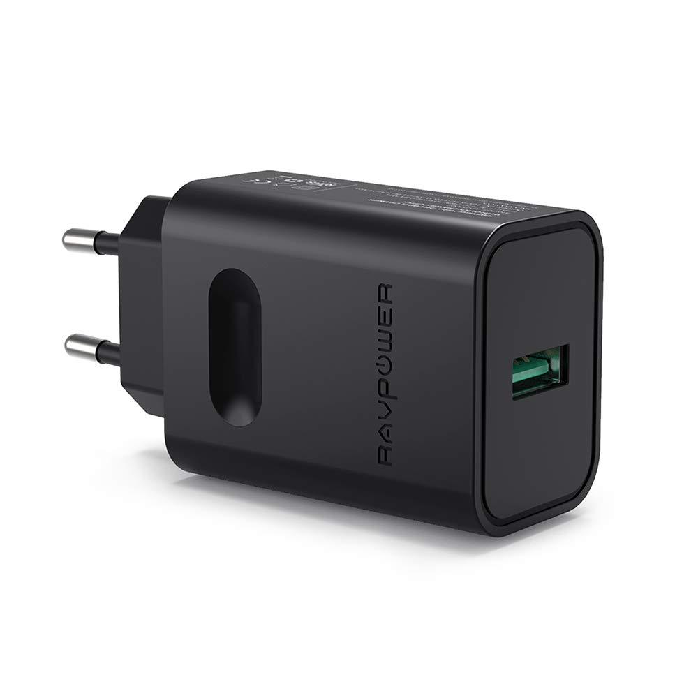 RAVPower USB-Ladegerä t, Schnellladegerä t, USB, Schnellladegerä t, fü r Samsung Galaxy S9/S8/S7/S6/Note, Google Nexus 6, HTC und Plus, Schwarz FR RP-PC007