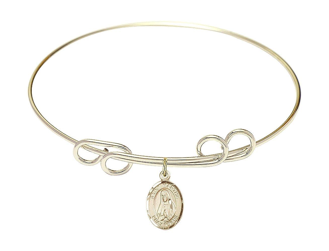 DiamondJewelryNY Double Loop Bangle Bracelet with a St Martha Charm.