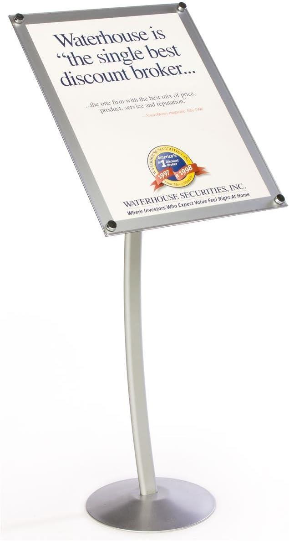 displays2go 18 x 24台座サインスタンド、アルミニウム構築、曲線デザイン – シルバー仕上げmsas1824sv)