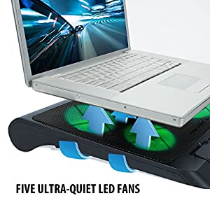 ENHANCE Gaming Laptop Cooling Pad Stand with LED Cooler Fans , Adjustable Height , & Dual USB Port for 17 inch Laptops - 5 Ultra Quiet High Performance Fans 2630 RPM & Built-In Bumpers - Green
