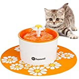Hommii AUTOMATICO Gatto Fiore Potabile Fontana Flower Sytle Automatic Electric 1.6 L Pet Water Fountain Drinking Bowl mit mat Orange