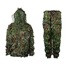 antWalking Outdoor 3D Jungle Woodland Hunting Camouflage Clothing Sun-proof Breathable Mesh Ghillie Suit Free Size