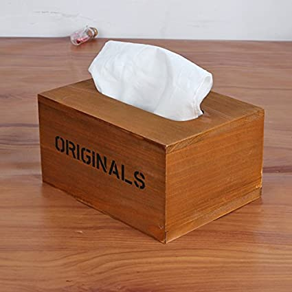 New Diy Vintage Wooden Tissue Box Rectangle Paper Box Holder