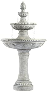 "John Timberland Pineapple 44"" High Old Stone 3-Tier Outdoor Fountain"