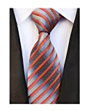 Men's Narrow Stripe Pattern Ties Orange Red Grey White Handmade Summer Neckties