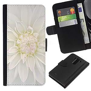 KingStore / Leather Etui en cuir / LG G3 / Blanca flor de la flor;