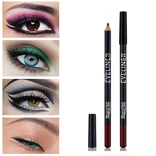 "Eye Liner Pencil Set - 12 Assorted Colors Natural Matte Long Lasting Hypoallergenic Eyeliners Eye Makeup Soft Crayon Pencils (Black Gray Brown Plum Purple Lavender Pink etc) by ""wonder X"""