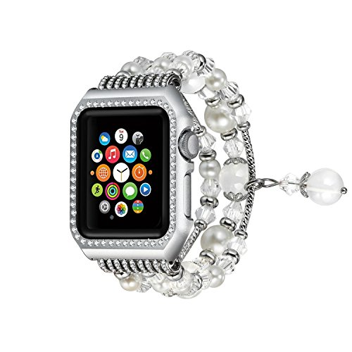 Solomo Compatible for Apple Watch Band,Fashion Glitter Diamond Metal Case with Handmade Elastic Stretch Bracelet Women Girls Rhinestone Replacement Strap for iWatch Series 3 /Series 2/1 (38MM White) - Round Case Diamond Watch