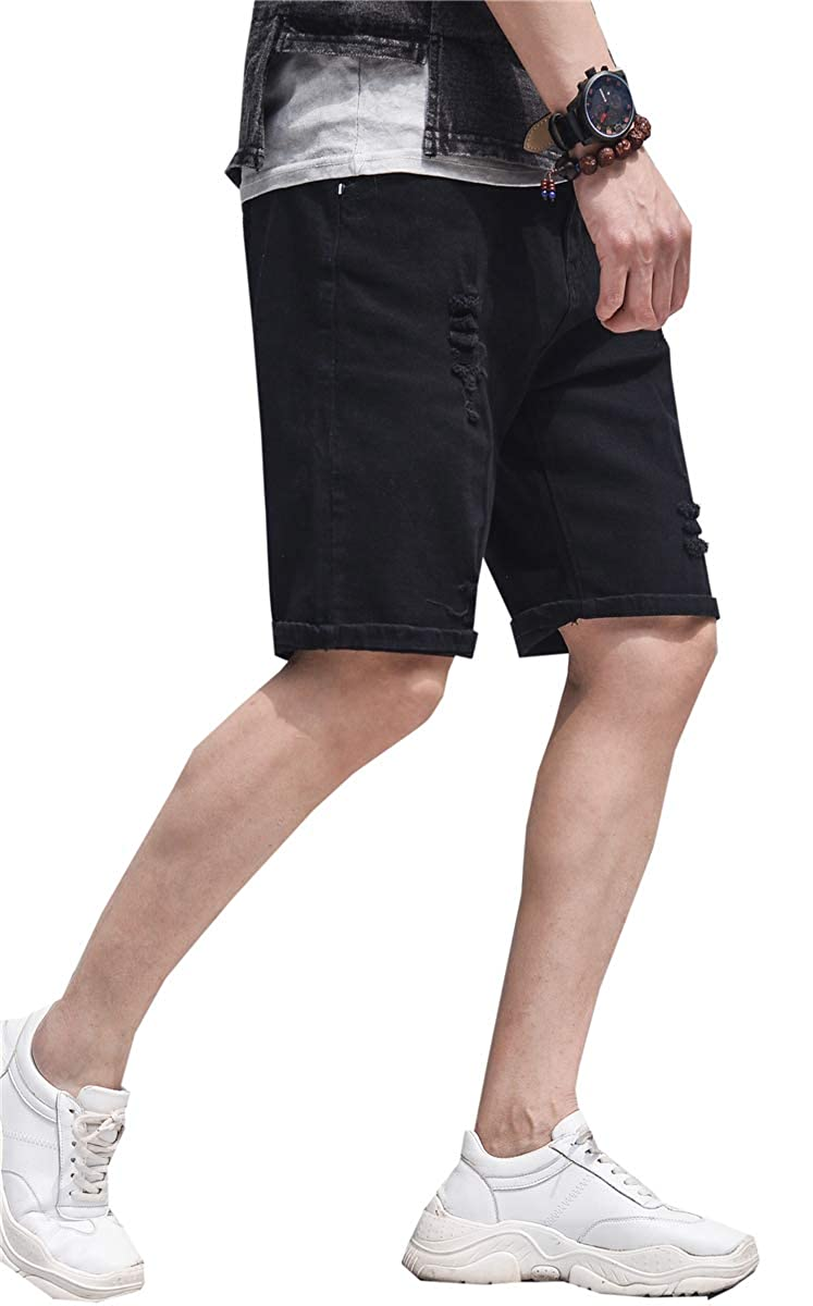 QZH.DUAO Mens Ripped Denim Shorts /& Jeans