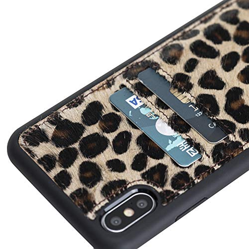 Venito Cosa iPhone Xs MAX Leather Case, Snap-On Back Cover with Credit Card Slots for iPhone XSMAX | Slim and Lightweight | Handcrafted Premium Full Grain Leather (Furry Leopard)