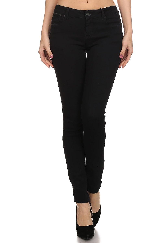 Enjean Women's Casual Stretch Slim-Fit Pants (Black)
